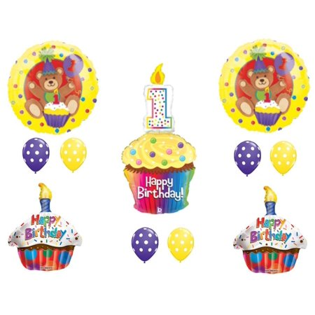 Teddy Bear Cupcake 1st Birthday Party Balloons Decoration Supplies First - Bears Decorations