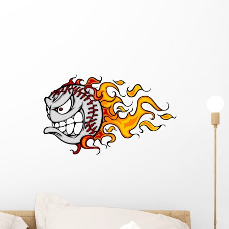 Flaming Baseball or Softball Wall Decal by Wallmonkeys Peel and Stick Graphic (18 in W x 11 in H) WM92602 Custom Flame Vinyl Graphic