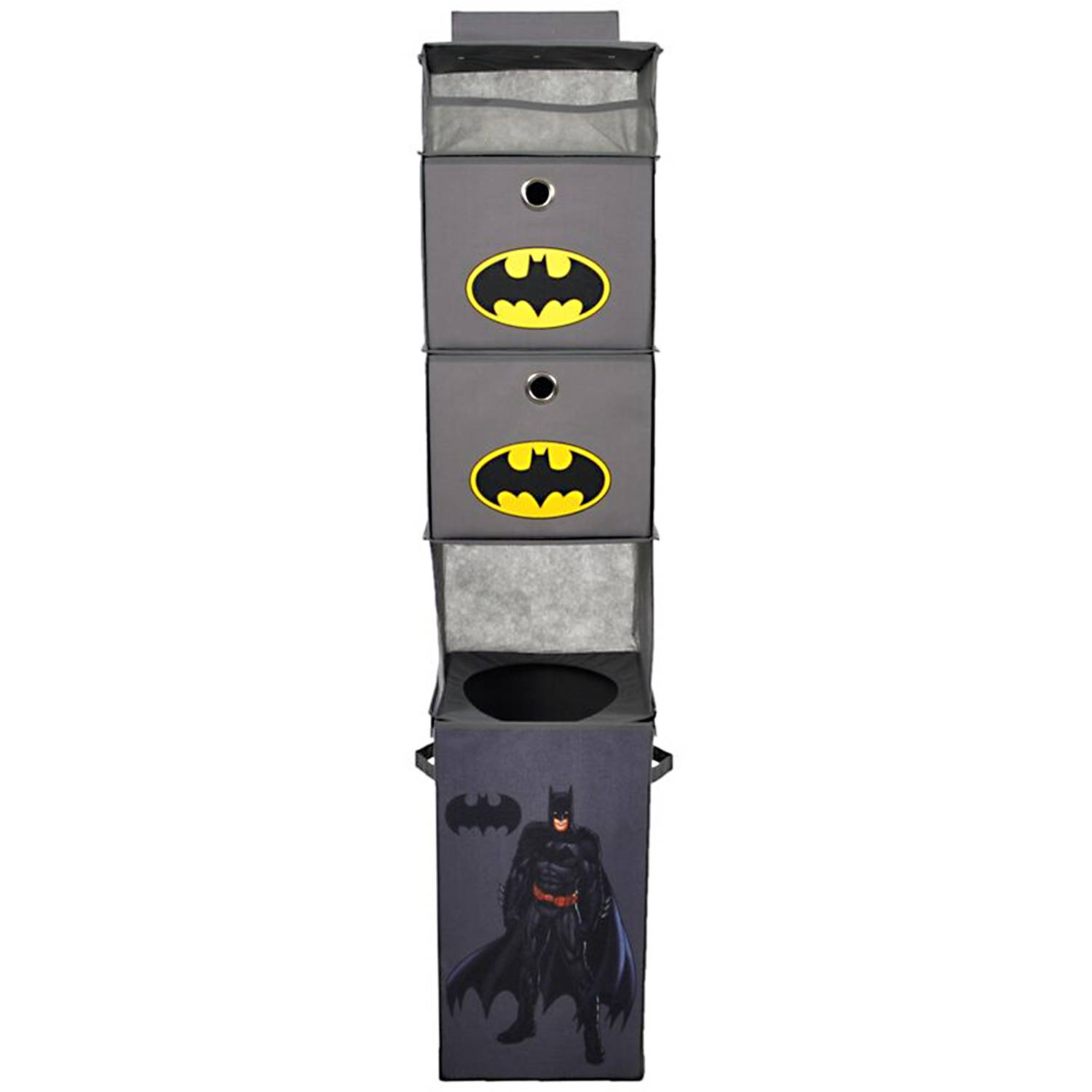 Batman Gray Closet Hanging Organizer with 2 Storage Bins by Modern Littles