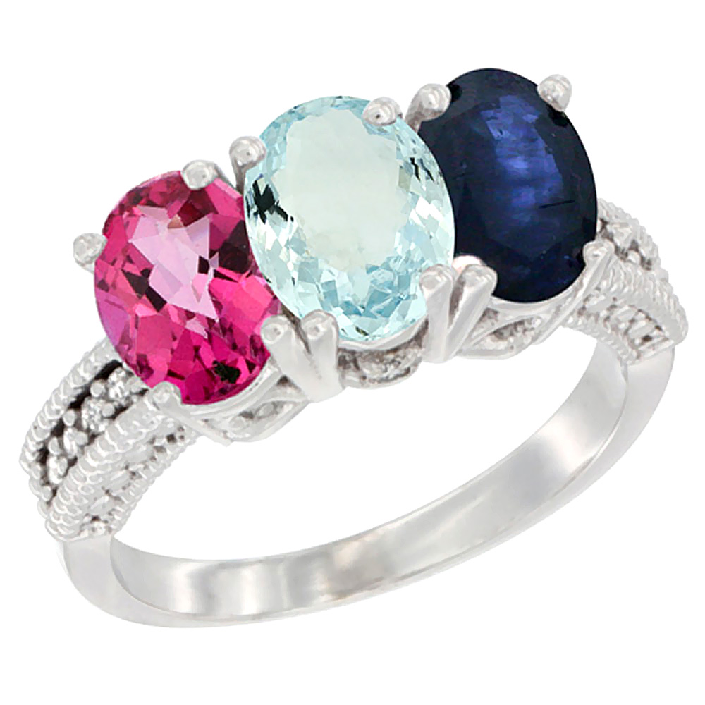 14K White Gold Natural Pink Topaz, Aquamarine & Blue Sapphire Ring 3-Stone 7x5 mm Oval Diamond Accent, sizes 5 10 by WorldJewels