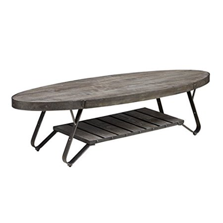 Modhaus Living Modern Driftwood Rustic Gray Wood And Metal 56 Inch