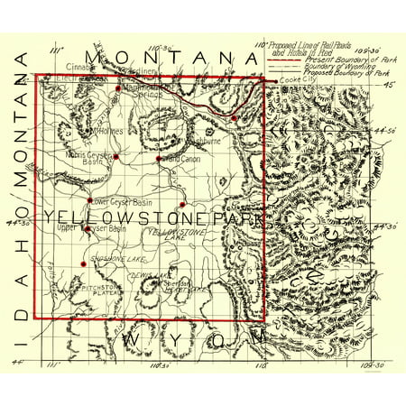 Old State Map - Yellowstone National Park - 1900 - 23 x 27.36 ...