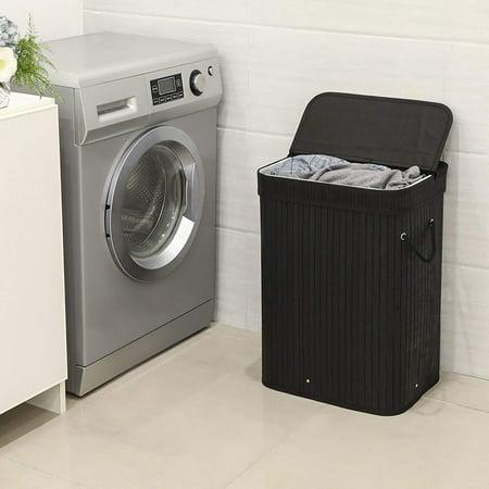 Ktaxon Bathroom Laundry Hamper Basket Wicker Clothes Storage Bag Sorter Organizer Lid ()
