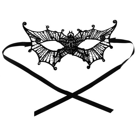 Women Spider Shaped Masquerade Party Dress Eyepatch Eyemask Lace Eye Mask Black