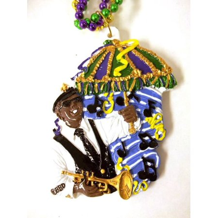 New Orleans Bourbon - 2nd line Jazz Band Horn Parasol New Orleans Music Mardi Gras Bead Bourbon Street