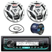 """JVC KDX35MBS Marine Boat Yacht Radio Stereo MP3 Player Receiver Bundle Combo With 2x JVC CS-DR6201MW 300-Watt 6.5"""" 2-Way Coaxial Speakers + Enrock Radio Antenna + 50 Foot 16g Speaker Wire"""