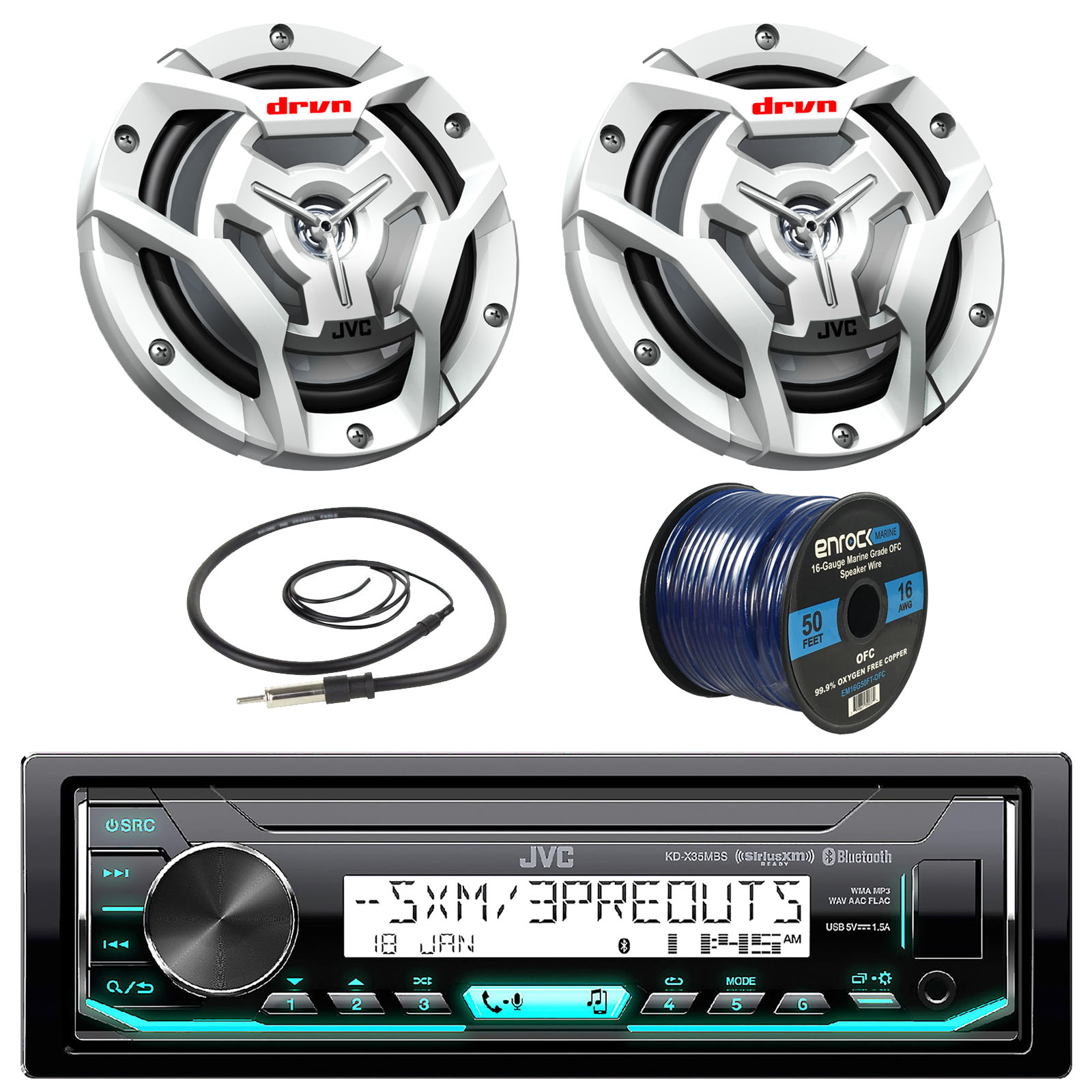 "JVC KDX35MBS Marine Boat Yacht Radio Stereo MP3 Player Receiver Bundle Combo With 2x JVC CS-DR6201MW 300-Watt 6.5"" 2-Way Coaxial Speakers + Enrock Radio Antenna + 50 Foot 16g Speaker Wire"