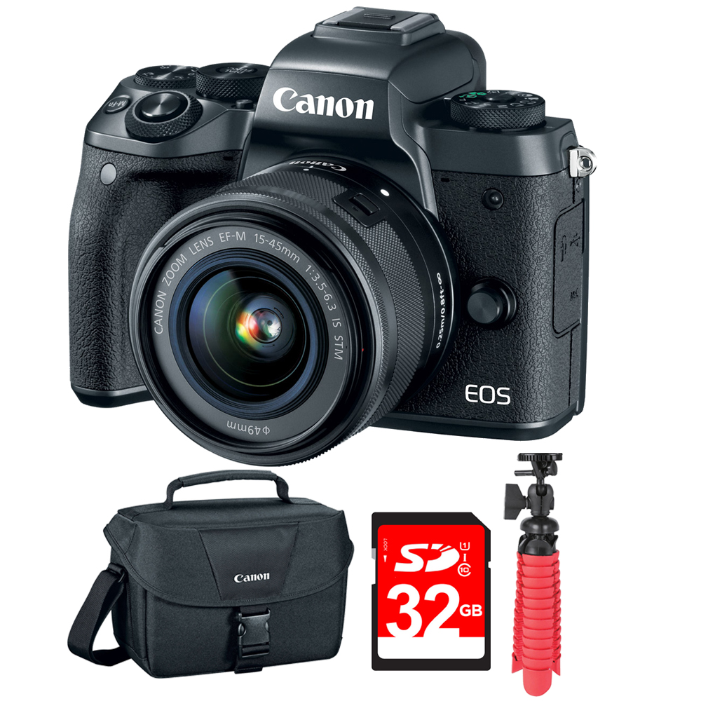 """Canon EOS M5 Mirrorless Digital Camera w/EF-M 15-45mm IS STM Lens Black (1279C011) w/32GB Deluxe Bundle Includes, EOS DSLR Camera Gadget Bag +12"""" Rubberized Spider Tripod + 32GB SDHC Memory Card"""