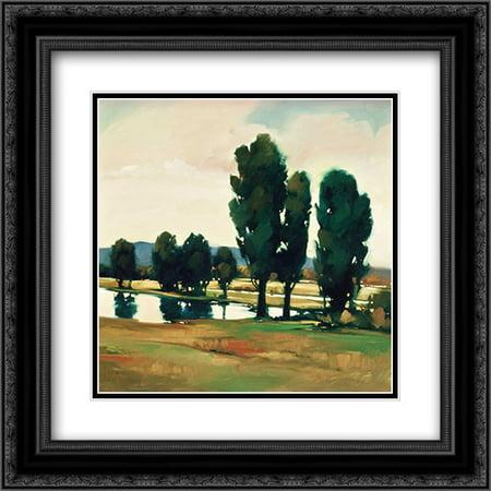 Art Print Greg Stocks - Dusk on the Water 2x Matted 20x20 Black Ornate Framed Art Print by Stocks, Greg