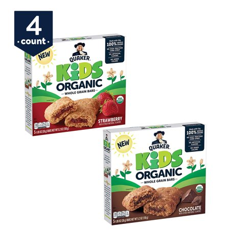 Quaker Kids Organic Whole Grain Bars, 2 Flavor Variety Pack, 4 Boxes, 20 Count - Kids Varsity