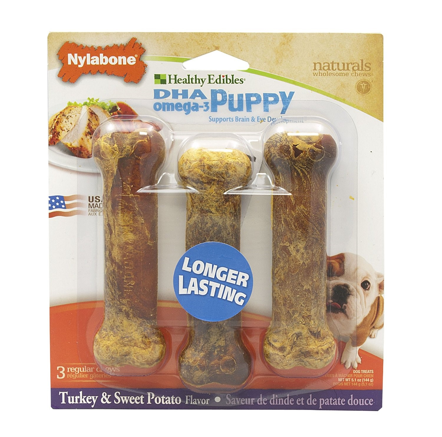 Nylabone Healthy Edibles DHA Bones Turkey & Sweet Potato Puppy Dog Treats, 3 Ct