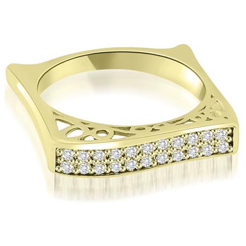 """0.22 cttw. 18K Yellow Gold Antique Style Square Diamond Wedding Ring (I1, H-I)"""