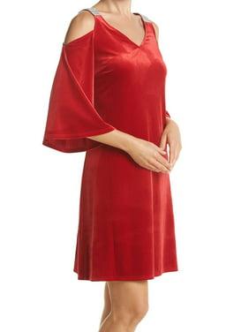 7739752e06779 Product Image MSK NEW Red Womens Size 10 Velvet Embellished Cold-Shoulder  Sheath Dress