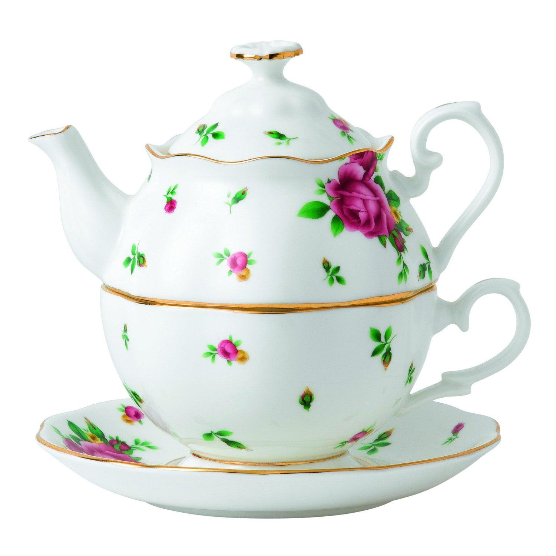 Royal Albert New Country Roses 2 Piece Tea Set, White