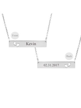 Personalized Rose Gold New Born Baby Footprint Cut Out Horizontal Bar Stainless Steel Custom Made Engravable Name Necklace Free Gift Box Ships Next Day
