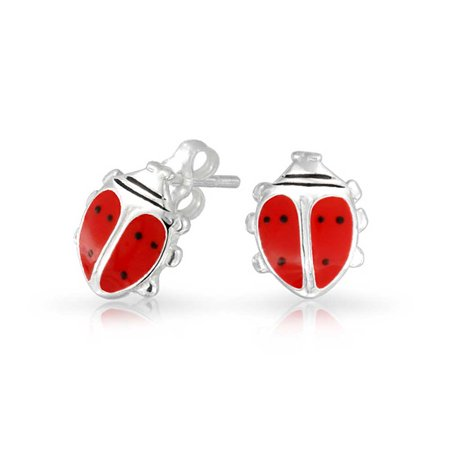 Red Enamel Garden Insect Lucky Wish Ladybug Stud Earrings For Women For Teen 925 Sterling Silver