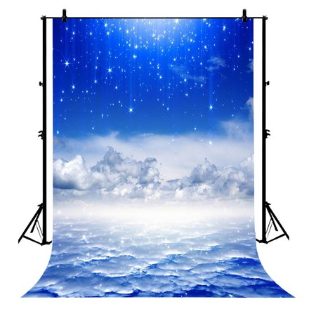 GCKG 7x5ft Newbornevening Blue Sky Clouds Fantasy Glitter Stars For Kids Birthday Polyester Photography Backdrop Photography Props Studio Photo Booth Props - image 4 de 4