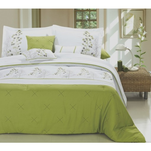 12pc PF. Lime Green/White Luxury Bed-in-a-Bag