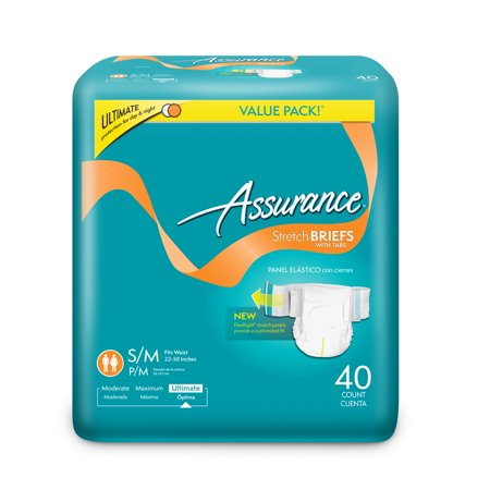 Assurance Stretch Briefs With Tabs  Ultimate Absorbency  Small Medium  40 Ct