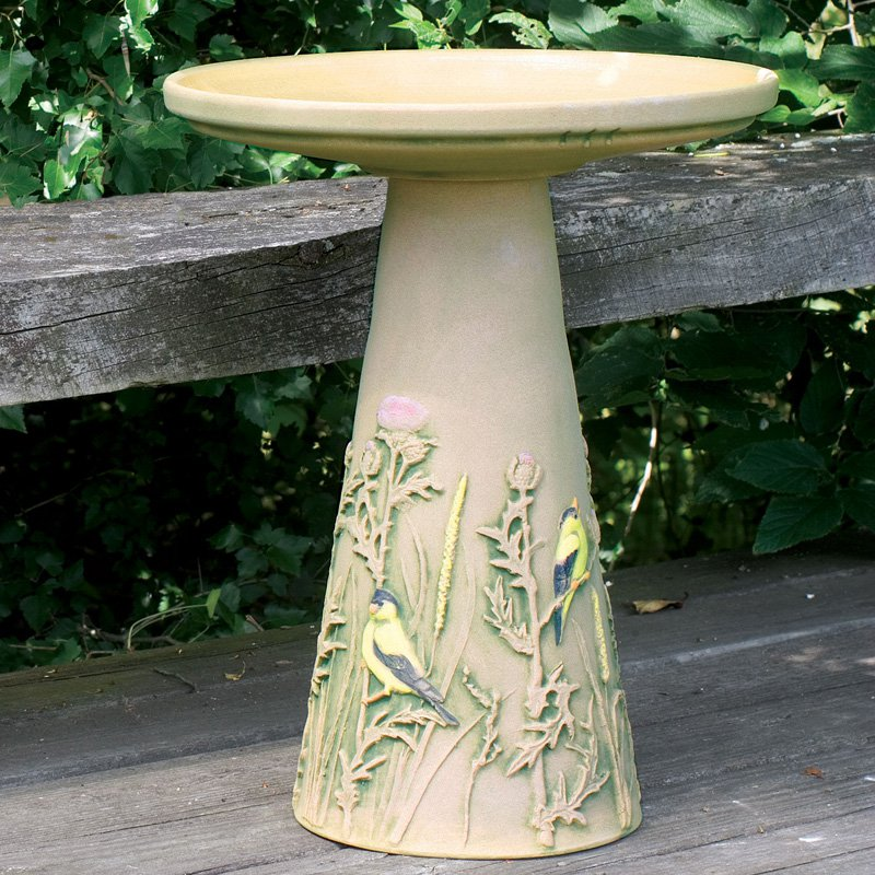 Burley Clay Hand Painted Finch Ceramic Birdbath by Backyard Nature Products Inc