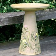 Burley Clay Hand Painted Finch Ceramic Bird Bath