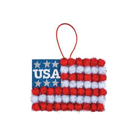 4th Of July Signs (Fun Express - Pom Pom Flag Sign CK-12 for Fourth of July - Craft Kits - Hanging Decor Craft Kits - Sign Decoration Craft Kits - Fourth of July -)
