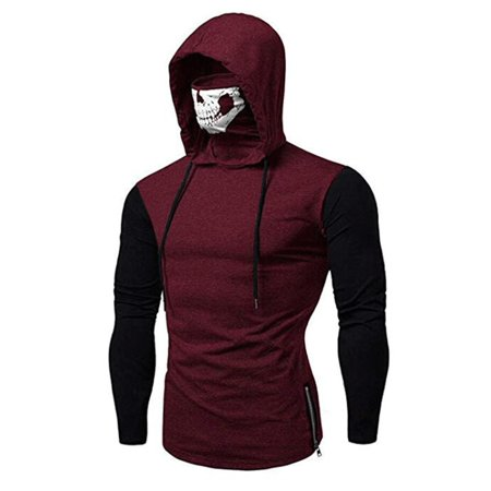 Men Slim Fit Casual Pullover Hoodie Sweartshirts Tops Shirt Winter Long Sleeve Turtle Neck High Neck Jumper Muscle Tee Shirt