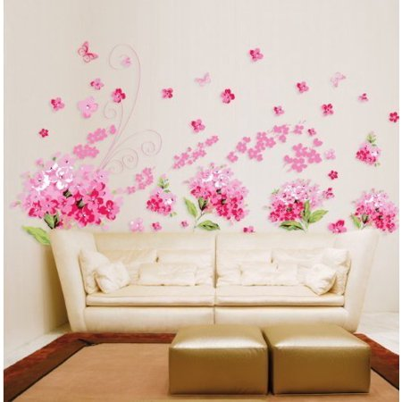 LiveGallery Lovely Pink Petal Flowers Removable Wall Decals/Wall Stickers &  Murals/Wall Décor DIY Romantic Pink Tv Background Living Room Baby Kids ...