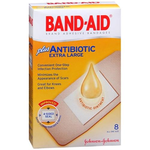 BAND-AID Plus Antibiotic Bandages Extra Large All One Size 8 Each (Pack of 4)