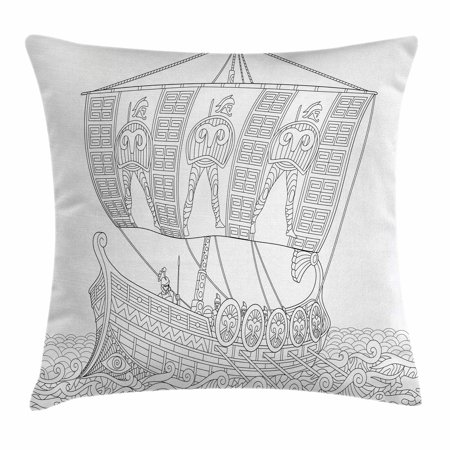 Toga Party Throw Pillow Cushion Cover, Soldiers with Spears in Stylized Ancient Greek Galley Warship on Swirled Waves, Decorative Square Accent Pillow Case, 16 X 16 Inches, Black White, by - Toga Ancient Greece