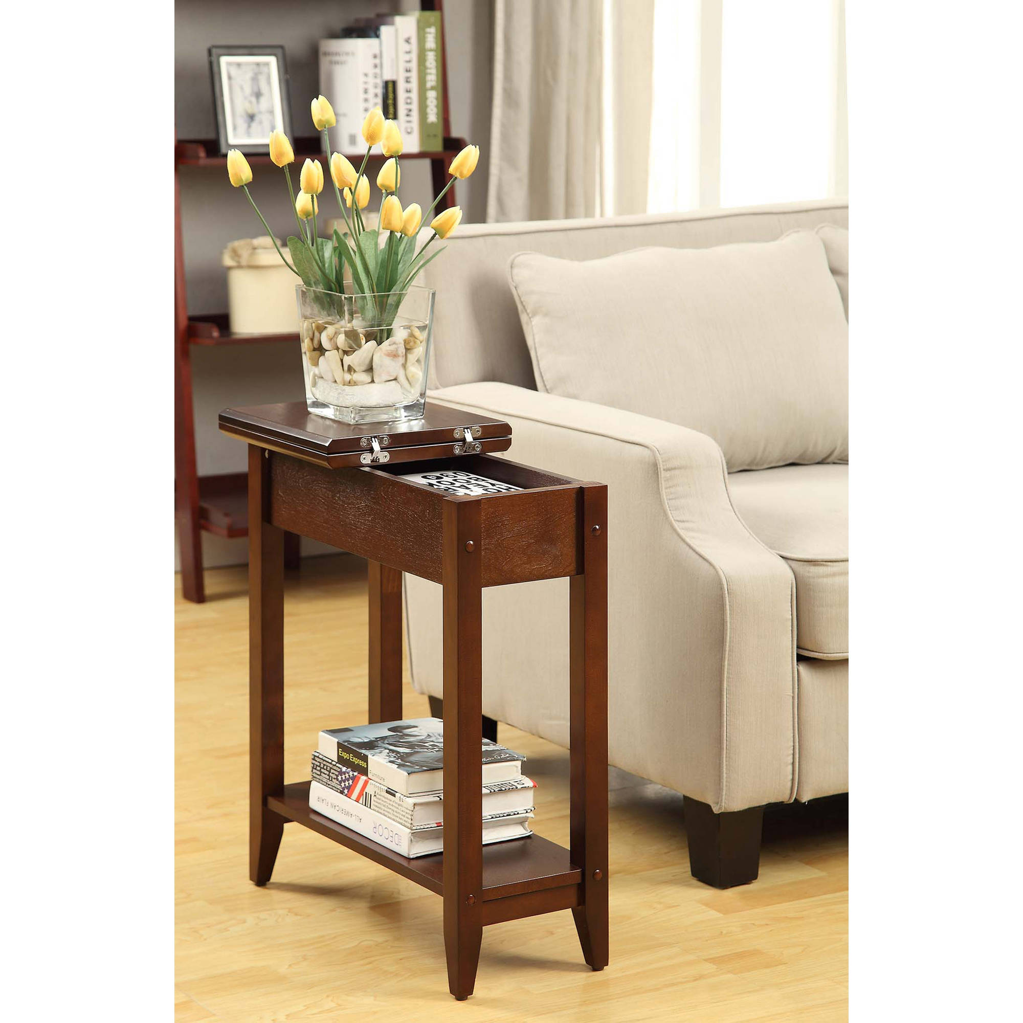American Heritage Flip Top Tall Side Table, Multiple Colors