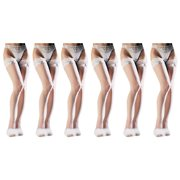 JenniWears Women's Ultra Sheer Lace Top Thigh High Pantyhose - 6 Packs