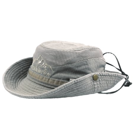 CARLTON GLOBAL Mens Cotton Embroidery Visor Mesh Bucket Hats Fisherman Hat Outdoor Climbing Cab (Embroidery Bucket Hat)