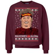 Mahomes Alone Movie Parody Football #15    Mens Ugly Christmas Crewneck Graphic Sweatshirt