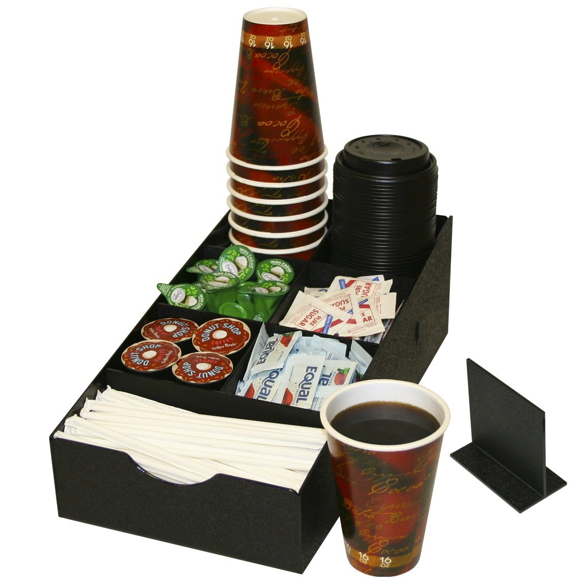 Coffee Condiment Organizer with 8 Compartments.