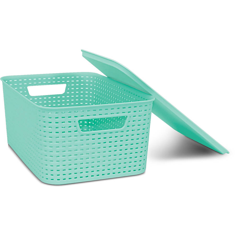 Homz Plastic Wicker Storage Boxes with Lid, Small by Home Products International