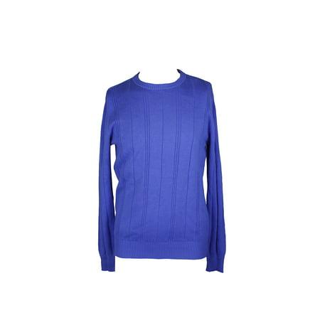 John Ashford Blue Crew-Neck Striped-Texture Sweater XL