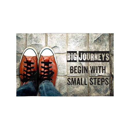 MKHERT Big Journeys Begin with Small Steps Inspiration Quote Shoes on Street Placemats Table Mats for Dining Room Kitchen Table Decoration 12x18 inch,Set of 4 ()