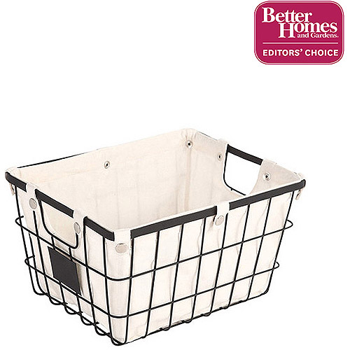 Better Homes and Gardens Small Wire Basket with Chalkboard, Black (1 Piece)