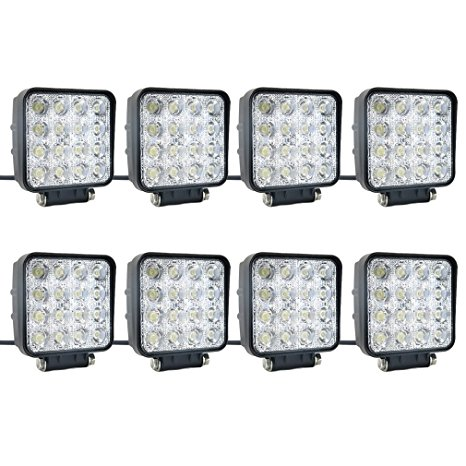 8 pcs one pack 48w 30 Degree LED flood Beam Lights Square Off-road bulb lamp light fog lighting exterior For Jeep Cabin... by New World Motoring