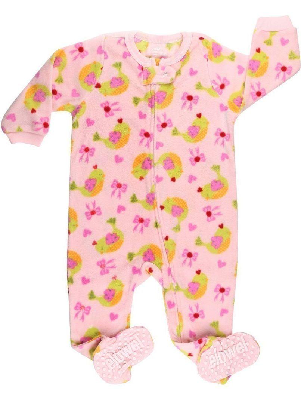 Elowel Little Girls Pink Bird Bow Print Footed Fleece Sleeper Pajama