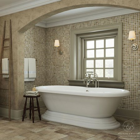 Pelham & White Luxury 60 inch Freestanding Tub with Vintage Tub Design in White, Includes Pedestal Base and Brushed Nickel Drain, from the Mendham -