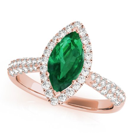 0.80 Ct. Ttw Elegant Look Diamond And Marquise Shape Created Emerald Ring In 10k Rose (Marquise Rose Gold Ring)