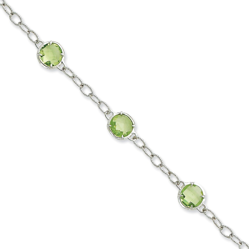 Sterling Silver Light Green CZ Textured Link Bracelet.