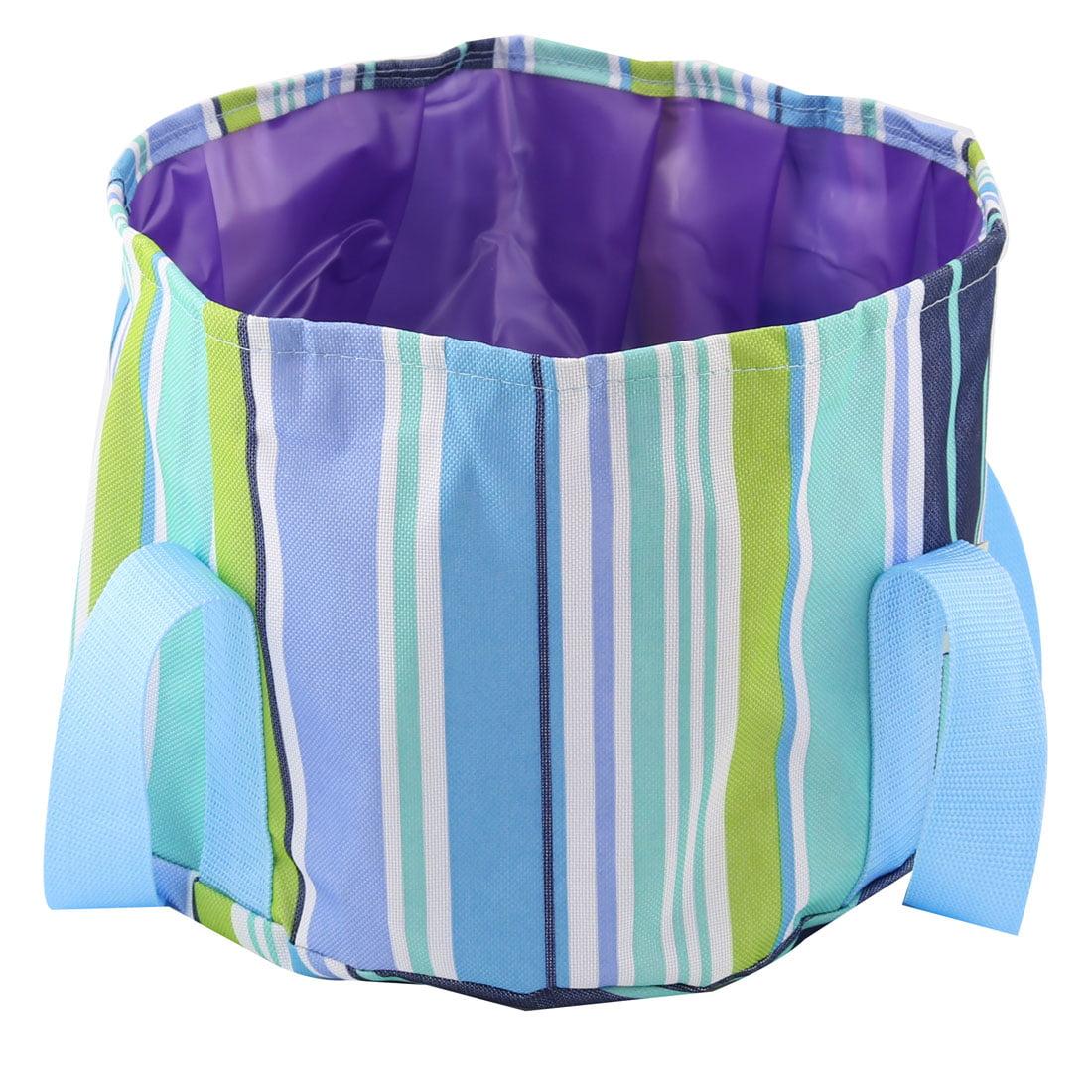 Outdoor Stripe Pattern Portable Foldaway Water Storage Bucket Washbasin Blue
