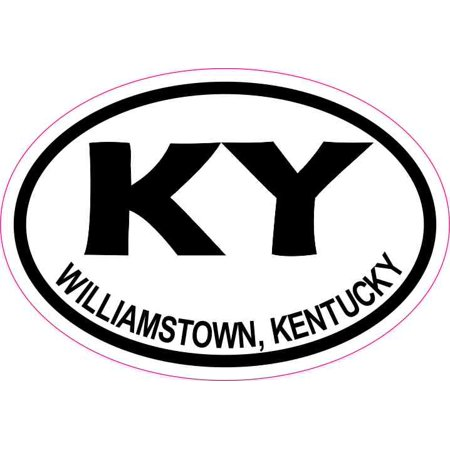 3in x 2in Oval KY Williamstown Kentucky Sticker Vinyl Travel Luggage Decal - Car Mart Lexington Ky