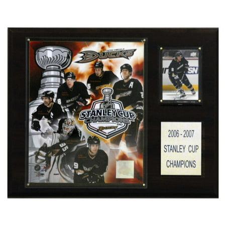 Signed Anaheim Ducks - C&I Collectables NHL 12x15 Anaheim Ducks 2007 Stanley Cup Champions Plaque