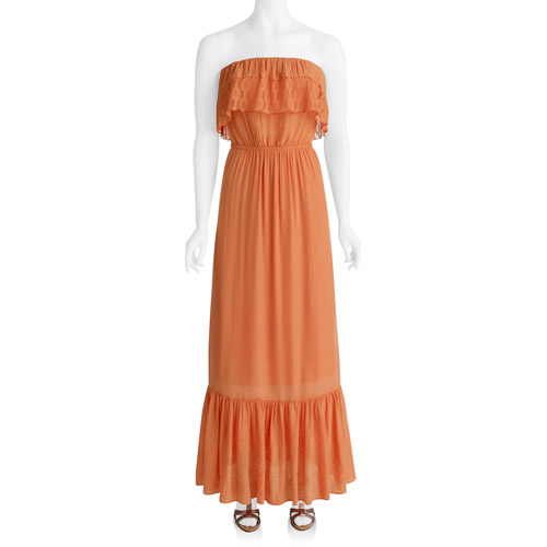 Susie Rose Collection - Womens Gauze Sleeveless Ruffle Maxi