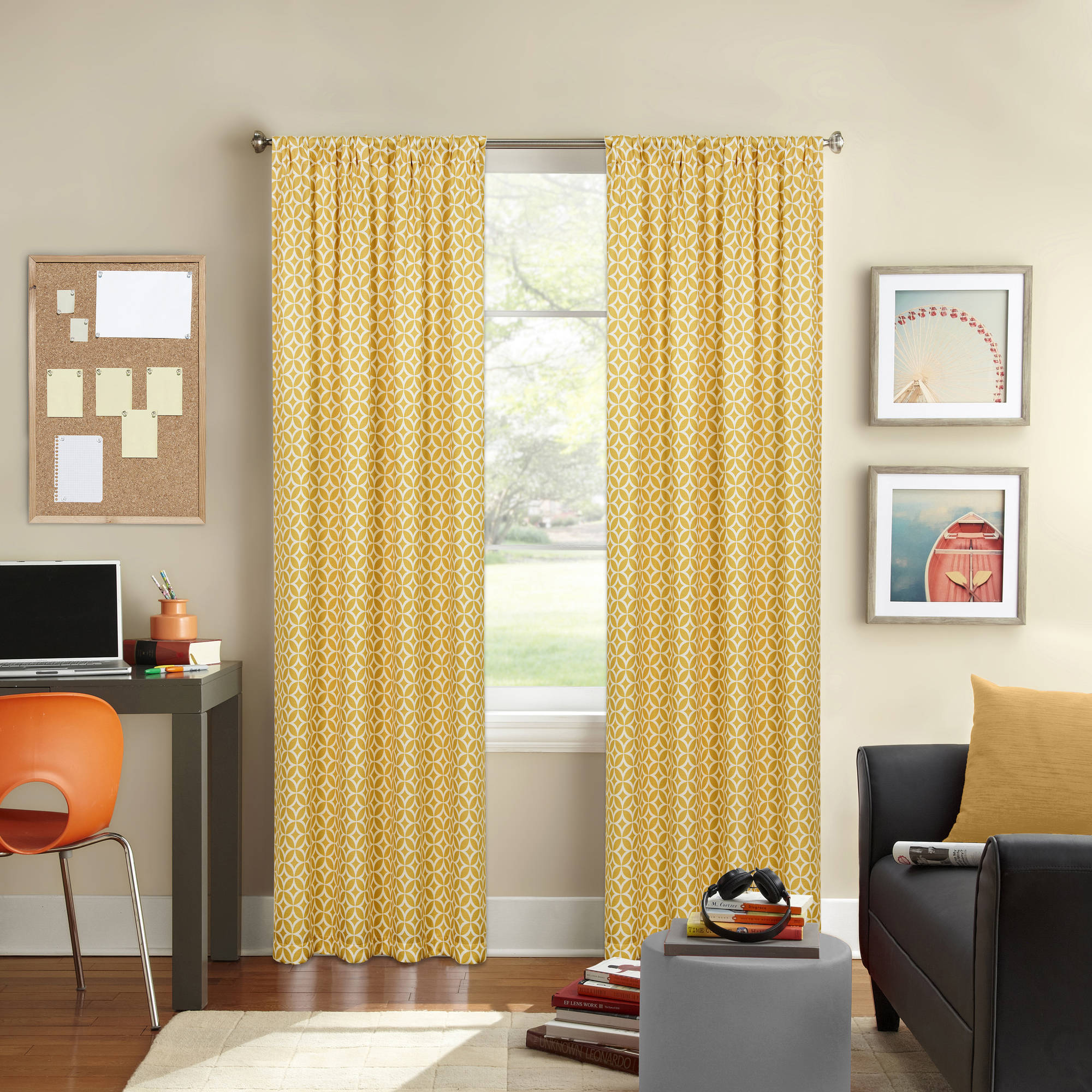 Better Homes and Gardens Circles and Diamonds Printed Window Curtain, Rod Pocket