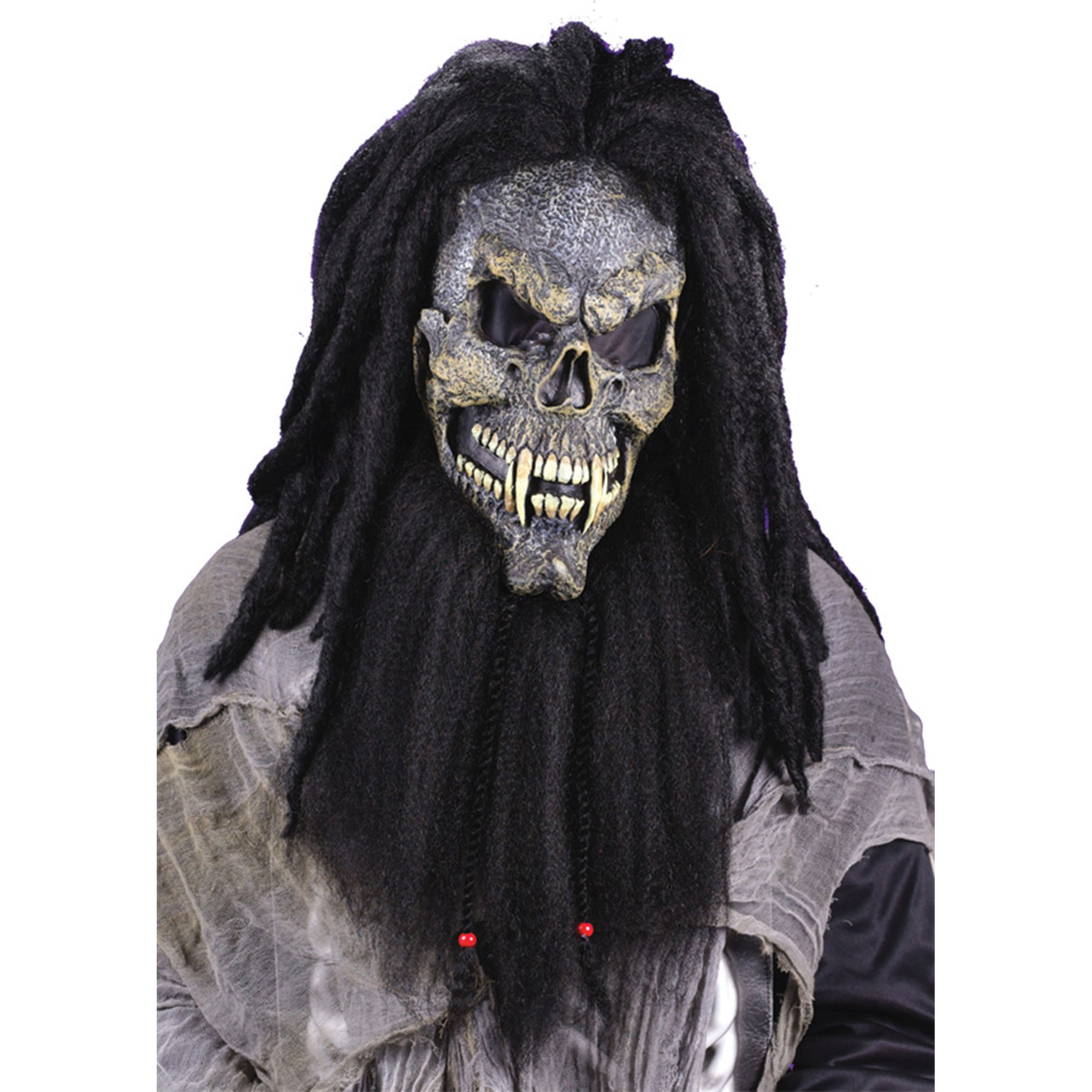 Morris Costumes Fearsome Faces Long Hair Latex Halloween Skull Mask, Style FW8507S